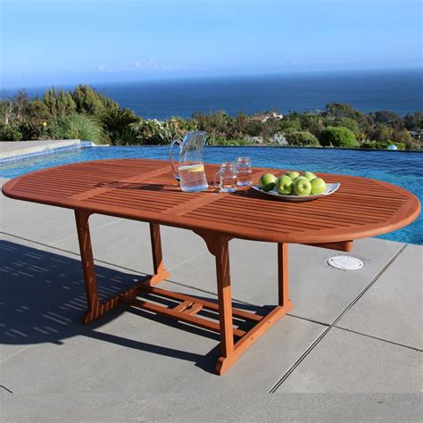 oval outdoor dining table vifah malibu oval extension outdoor dining table v144