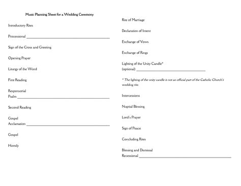 wedding planning sheet template best photos of marriage ceremony template sle wedding