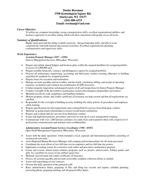 experienced assistant property manager resume sle for