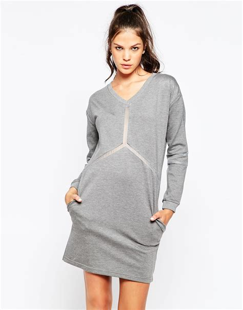 Eleven Knit Dress With Sheer Detail In Gray Lyst