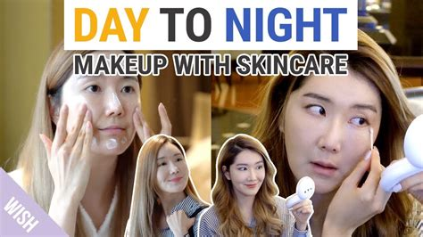 how to change your look day to night makeup tutorial with skincare outfit how