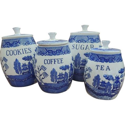 blue and white kitchen canisters blue willow canister set canister sets canisters and blue