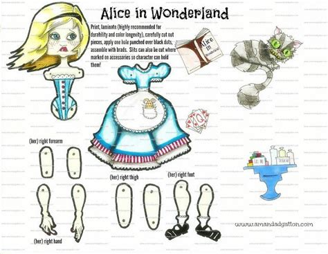 alice in wonderland articulated pap diy articulated fairy tale dolls for kids group board