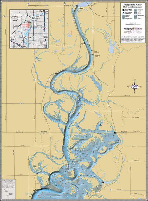 river map wisconsin river below nekoosa dam wall map