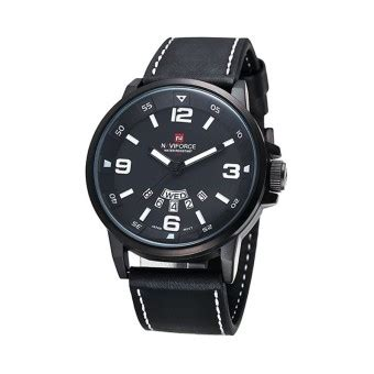 Jam Tangan Naviforce Nf 340 naviforce jam tangan pria hitam kulit benang