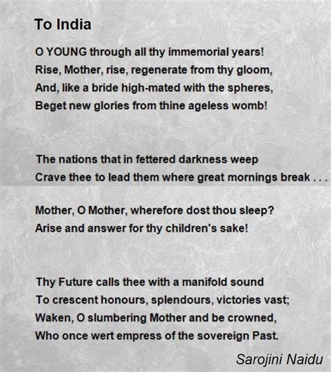 about india to india poem by sarojini naidu poem