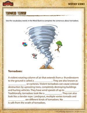 tornado terror free earth science worksheet for 4th