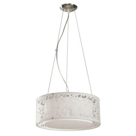 hton bay 3 light white ceiling drum pendant 07276 1