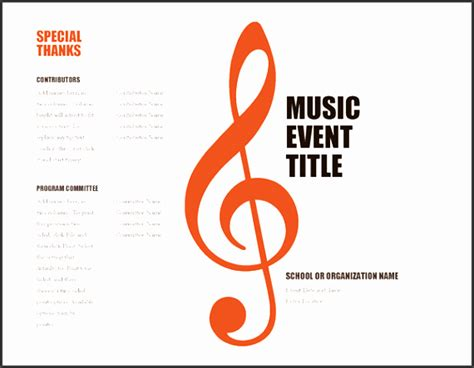 Musical Program Template by 10 School Event Program Template Sletemplatess