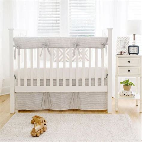 Washed Linen In Ecru Stripe Baby Bedding Set Jack And Ecru Crib Bedding