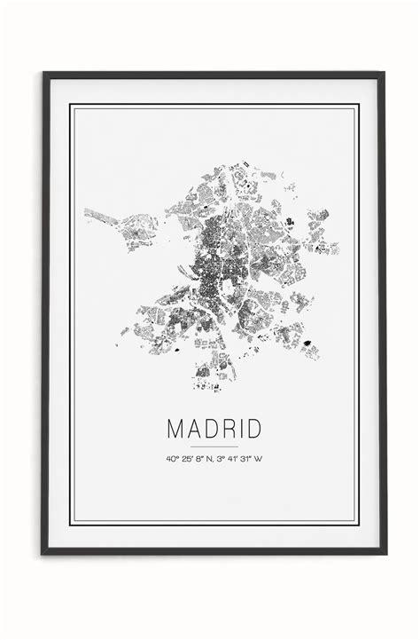 Póster del mapa de Madrid con estilo minimalista. Ideal