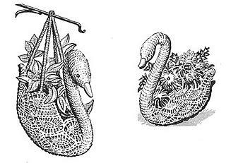ravelry  crocheted swan centerpiece plant holder