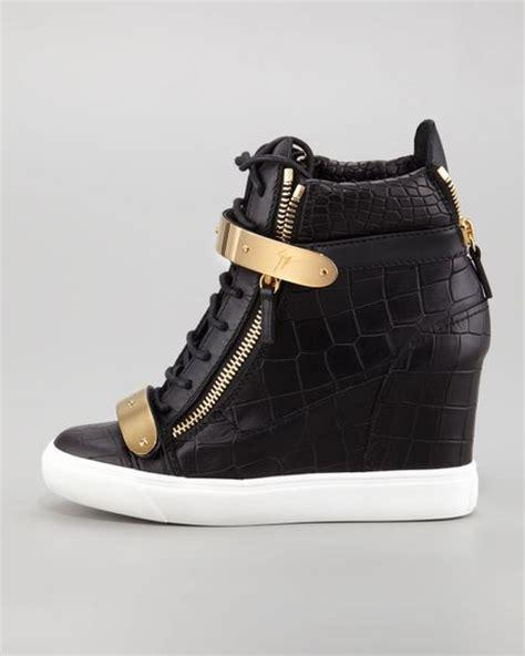 giuseppe zanotti sneaker wedge giuseppe zanotti crocembossed metalstrap wedge sneaker