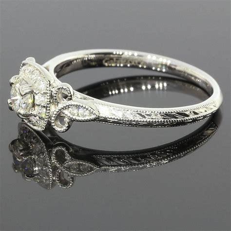 fleur de lis halo engagement ring at 1stdibs