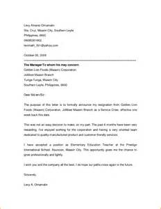 Friendly Letter Of Resignation by 7 Friendly Resignation Letter Template Invoice Template