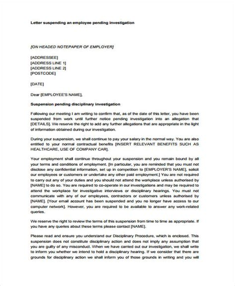suspension from work letter template suspension letter to employee for misconduct docoments