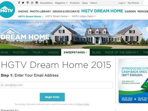 Dream Giveaway Sweepstakes - hgtv dream home giveaway sweepstakes