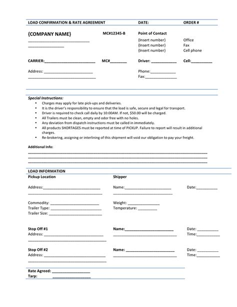 load confirmation rate agreement template  word   formats