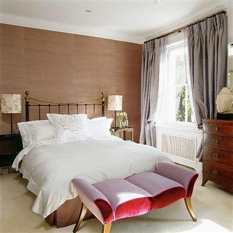 contemporary bedroom with brown wallpaper bedroom