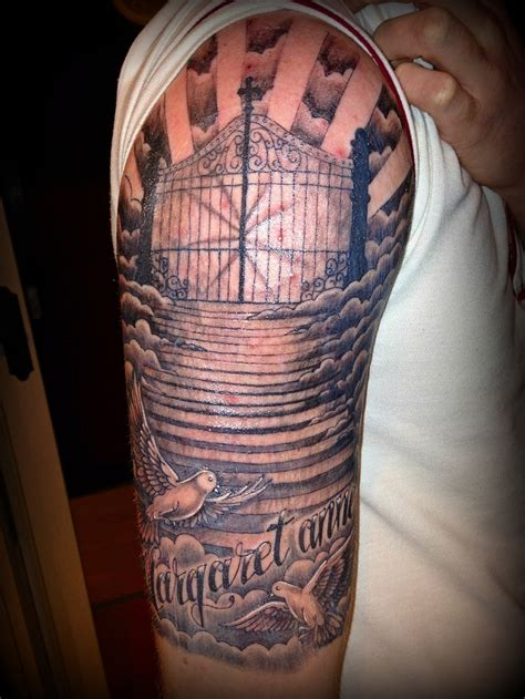 dope tattoos religious half sleeve ideas