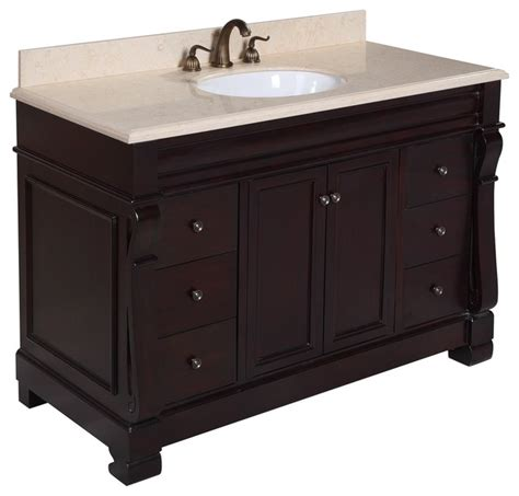 Vanity Houzz Westminster 48 In Bath Vanity Travertine Chocolate