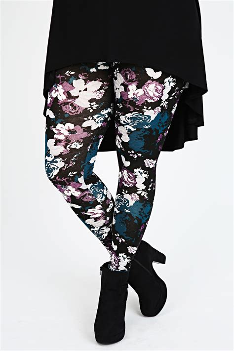 Teal Patterned Leggings | purple and teal floral print leggings plus size 16 to 32