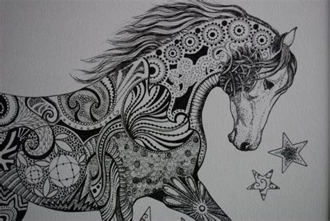 zentangle pattern horse zentangle horse by trish lewsader by luckyduckyart on etsy