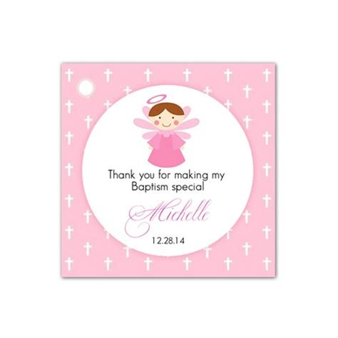 printable thank you tags for baptism 20 angel pink personalized baptism christening favor tags
