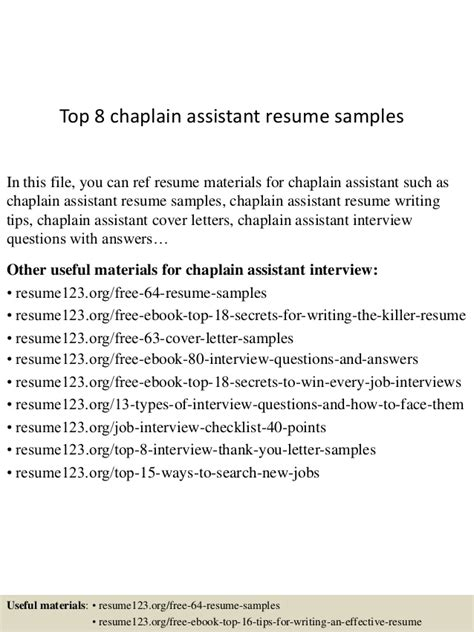 Chaplain Assistant Cover Letter by Top 8 Chaplain Assistant Resume Sles