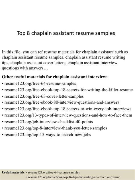 Chaplain Assistant Sle Resume by Top 8 Chaplain Assistant Resume Sles