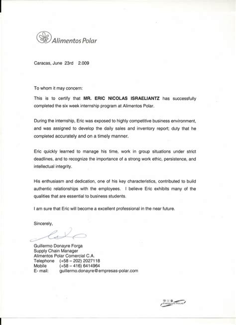 Recommendation Letter For Completion Reference Letter From Internship