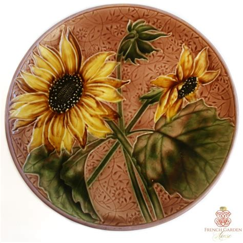 antique majolica sunflower footed cake stand