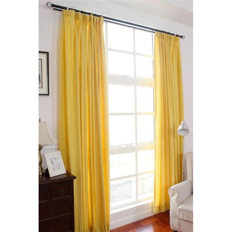 Solid Yellow Curtains Mustard Yellow Modern Pinch Pleated Breathable Solid Curtains