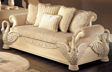 luxury living room set traditional antique white sofa group  wood carved swan accents
