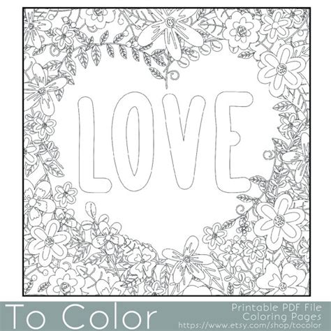 coloring pictures of love words items similar to flower frame with the word love coloring