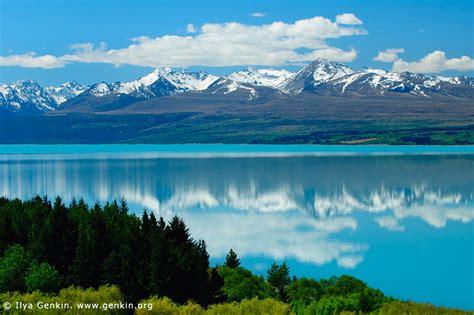 Landscape Photography New Zealand South Island Mountain Range Reflected In Lake Pukaki Image