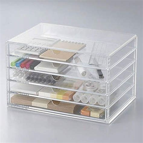 muji clear acrylic drawers f s new muji acrylic case 5 drawers large size make up