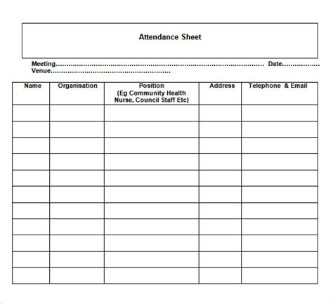 sheet template word sle attendance chart 8 free documents in pdf word