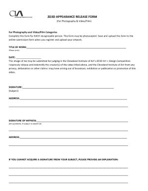 appearance release form template photography print release form templates fillable