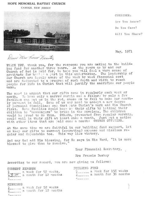 Fundraising Letter For School Building Camden Nj Memorial Baptist Church