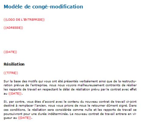 Lettre De Résiliation Mobile Cause Chomage Cong 233 Modification Mod 232 Le De Contrat 224 T 233 L 233 Charger