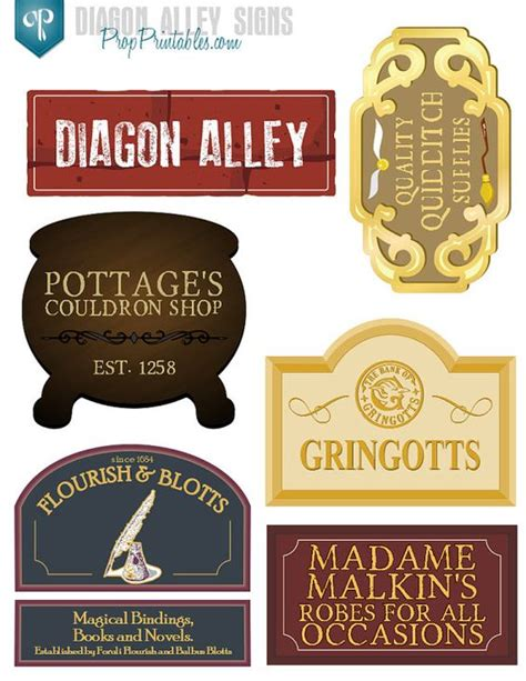 harry potter inspired hogwarts printable name tags 29 diagon alley signs harry potter party with high