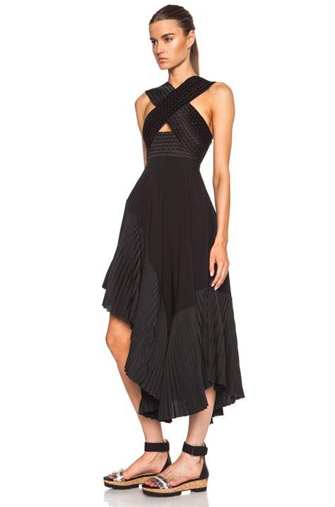 Pleated Dress 16091 Black lyst stella mccartney pleated halter viscose blend dress