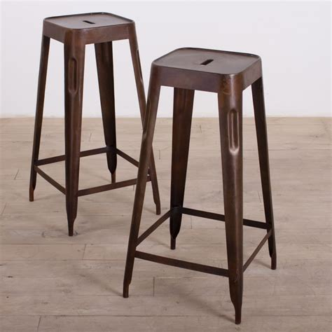 Handcrafted Bar Stools - handcrafted madurai brown steel bar stool set of 2 india