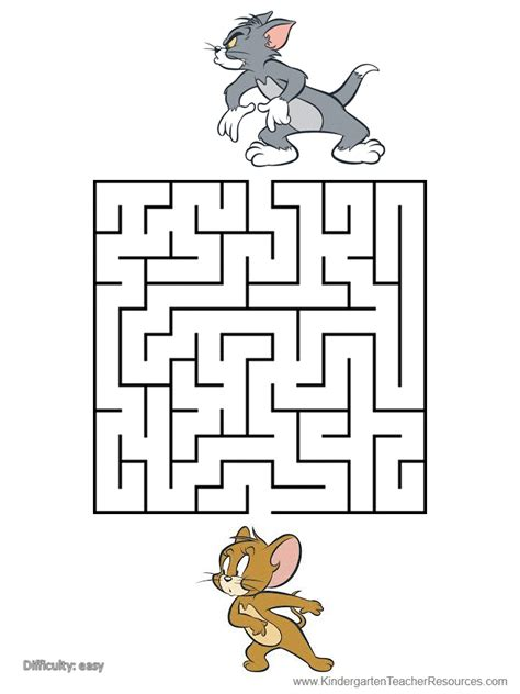 printable number mazes kindergarten printable mazes with tom and jerry