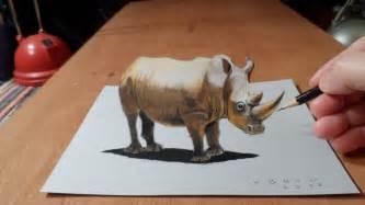 Drawing a rhinoceros 3d trick art youtube