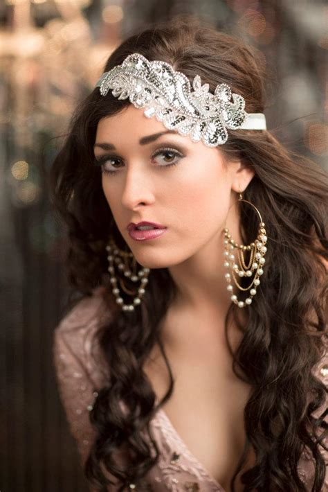 gatsby hair party roaring 20s flapper headband silver gatsby headpiece