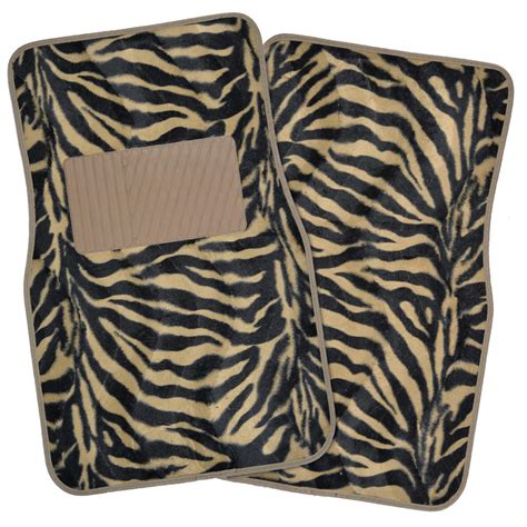 4 piece premium full set safari zebra carpet floor mats