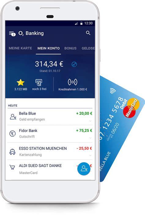 fidor bank app o2 banking kostenloses konto kostenlose mastercard