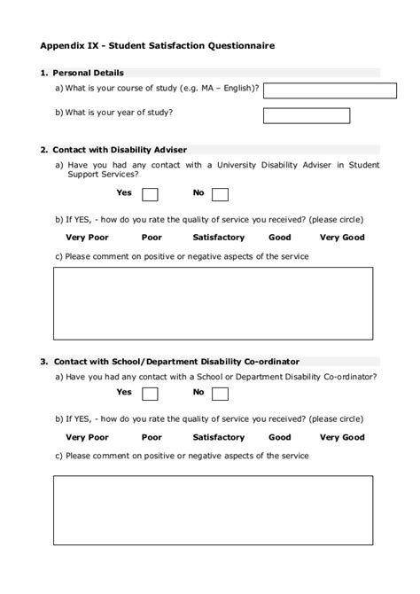student satisfaction questionnaire template student satisfaction questionnaire